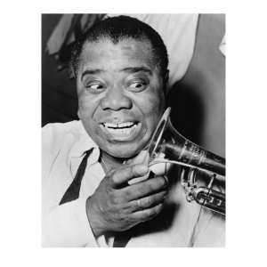Louis Armstrong, African American Jazz Musician, with His Trademark