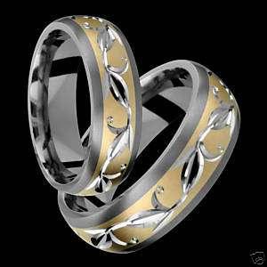 Titanium Rings 14k Gold Ring Wedding Band Set Him & Her