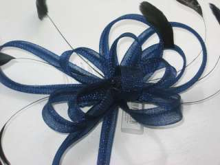 Large Looped Ribbon/Net Flower & Feather Hair Comb Fascinator