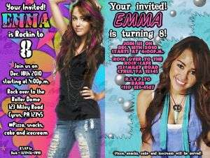 Hannah Montana Miley Cyrus invitations + party Supplies