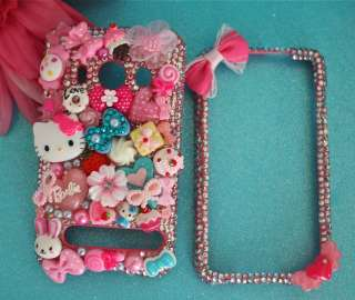HELLO KITTY & BARBIE HTC EVO 4G PINK CRYSTAL CANDY HEART DECO BLING