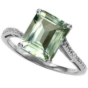 Gold Genuine Emerald Cut Green Amethyst and Diamond Ring(Metalw