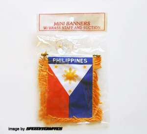 PHILIPPINES FLAG DOUBLE REAR VIEW MIRROR MINI BANNER