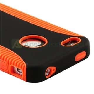 Hybrid Black/Orange Hard/Rubber Skin Case Cover+Anti Glare Guard for