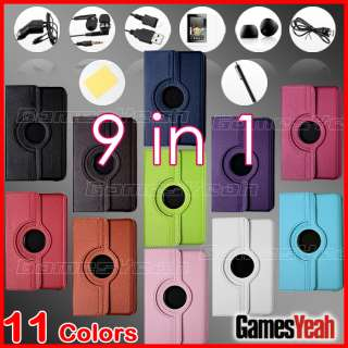 For Kindle Fire Rotating Leather Case/Screen Protector/Car Charger/USB