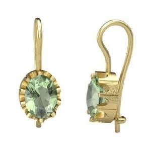 Keep Earrings, Oval Green Amethyst 14K Yellow Gold Earrings Jewelry