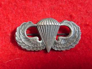 US Army Airborne Paratrooper Jump Wings, Qualification Badge, Sterling