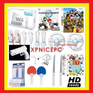 NNEW NINTENDO WII CONSOLE MARIO KART CHARGER HD GAMES NASCAR BUNDLE