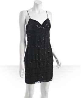Aidan Mattox black sequin tiered dress