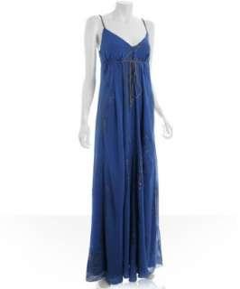 Nicole Miller dark blue floral chiffon tie detail gown   up to
