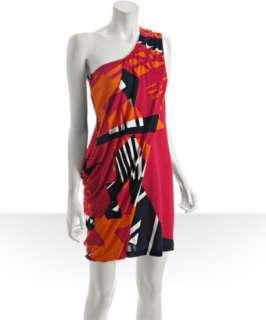Diane Von Furstenberg pink geometric printed silk jersey one shoulder
