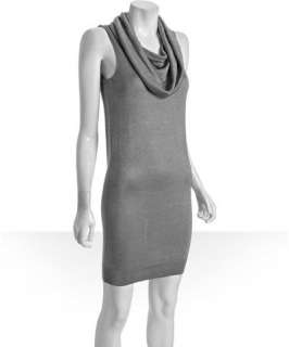 Halston Heritage silver knit cowl neck sleeveless dress
