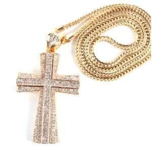 Out Large Gold 3D Cross Pendant with a 36 Inch Franco Necklace Chain