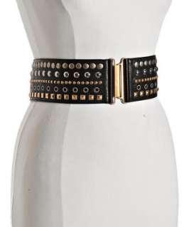 Miu Miu black studded leather stretch belt