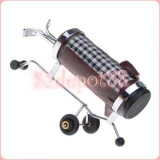 Dollhouse Miniature Golf Clubs Ball Stand Bag Trolley
