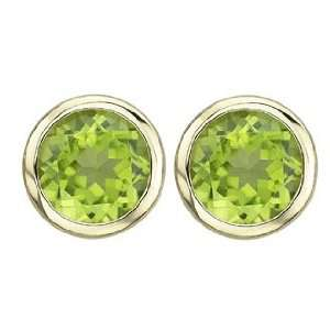 and Marvelous Round Bezel Set Green Peridot Gemstone Stud Earrings