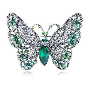Emerald Green Crystal Rhinestone Big Winged Butterfly Insect Bug Pin