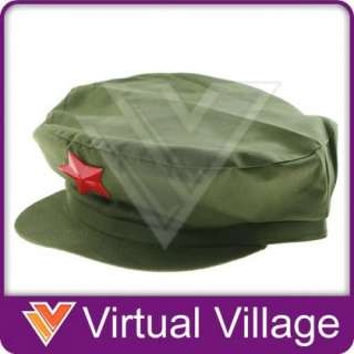 Communist Chinese Army Style Red Star Green Cap Hat NEW