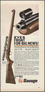 1963 SAVAGE Model 63 .22 RIFLE w/Zoom Scope PRINT AD