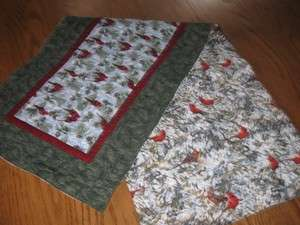 Handmade Quilted Table Runner Christmas hand pieced Birds Cardinals