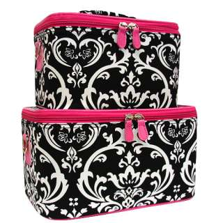 DAMASK BLACK AND PINK SET (2) Cosmetic Cases Luggage Tote MAKEUP