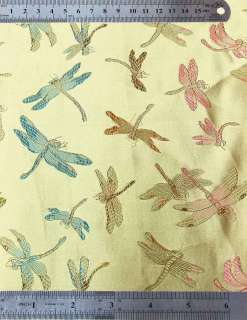 Light Gold Dragonfly CHINESE BROCADE FABRIC by YARD