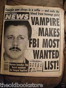 Vampire Makes FBI Most Wanted List Weekly World News Dec. 20 1994 ODD