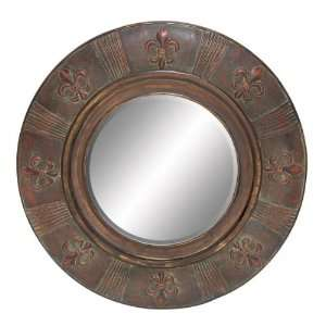 Large Fleur De Lis Wood Round Wall Mirror